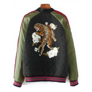 Embroidered Quilted Bomber Jacket -