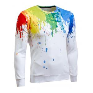 Paint Splatter Printing Long Sleeve Crew Neck Sweatshirt -