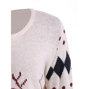 Christmas Deer Zip Up Cardigan - OFF WHITE ONE SIZE