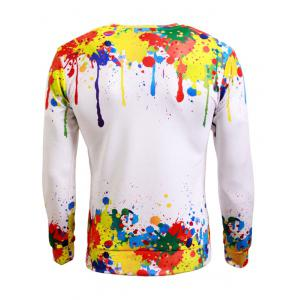 Long Sleeve Paint Splash Print Crew Neck Sweatshirt -