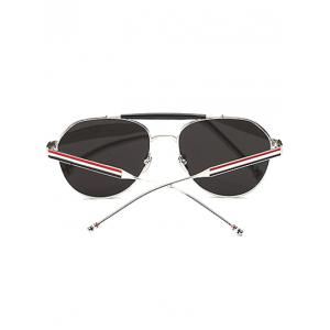 Cool Crossbar Striped Leg Pilot Mirror Sunglasses -
