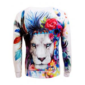 Long Sleeve Crew Neck Animal 3D Printed Sweatshirt -