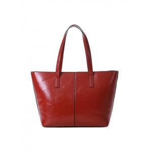 PU Leather Metal Stitching Shoulder Bag - WINE RED