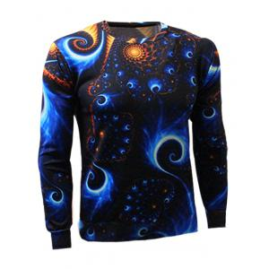 Long Sleeve Crew Neck Abstract Printed Sweatshirt - COLORMIX 2XL