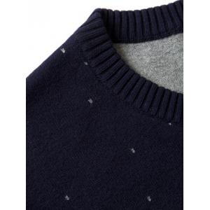 Crew Neck Color Block Splicing Snow Pattern Long Sleeve Sweater -