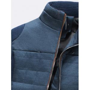 Trimmed Zippered Stand Collar Quilted Jacket - BLUE 3XL