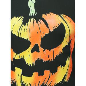Halloween Pumpkins Skulls Printed Round Neck Sweatshirt - BLACK 2XL