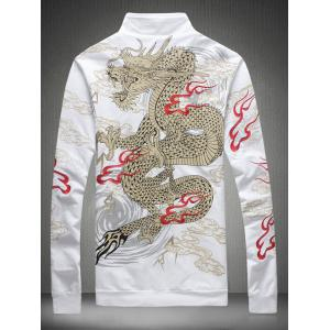 Embroidered Totem Printed Zip Up Jacket - WHITE 5XL