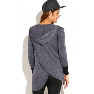 Asymmetric Thick Loose Hoodie - DEEP GRAY XL