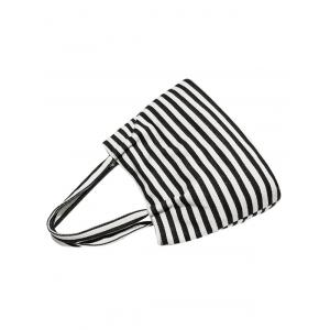 Colour Spliced Striped Pattern Canvas Shoulder Bag -