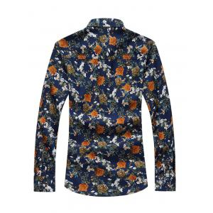 Vintage All-Over Flower Print Long Sleeve Shirt - FLORAL 7XL