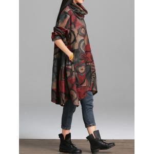 Asymmetrical Retro Print Dress - DEEP RED 2XL