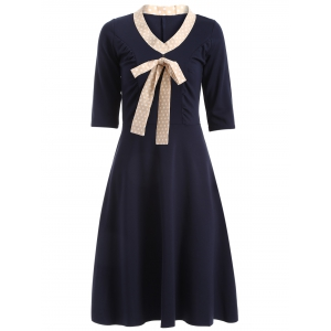 Half Sleeve Bowknot Vintage Dress - PURPLISH BLUE 2XL