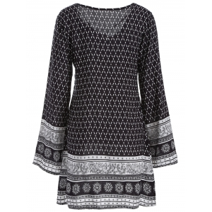 Long Sleeve Indian Print Dress - BLACK XL