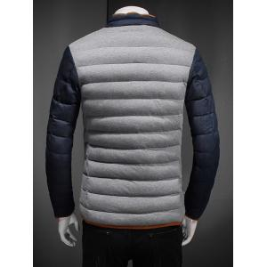 Constrast Piping Stand Collar Zip Up Quilted Jacket -