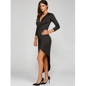 Maxi Prom Asymmetrical Knotted Bodycon Dress - BLACK XL