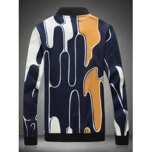 Abstract Printed Stand Collar Zip Up Jacket -