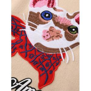 Kitten Embroidered Ribbed Sweater - RED ONE SIZE