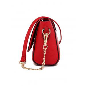 Colour Spliced Characters Printed Chain Crossbody Bag -