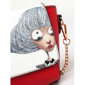 Colour Spliced Characters Printed Chain Crossbody Bag - RED