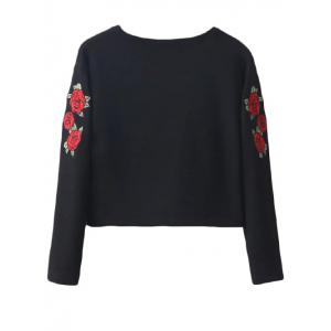 Embroidered Cropped Sweatshirt - BLACK S