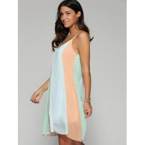 Color Block Spaghetti Strap Chiffon Dress -