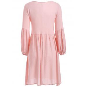 String Puff Sleeve Plunging Neck Short Dress with Sleeves - PINK XL