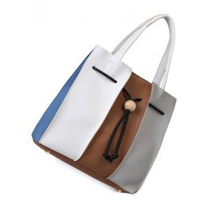 Colour Block String Textured Leather Tote Bag -