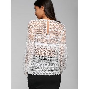 Openwork Puff Sleeve Blouse - WHITE XL