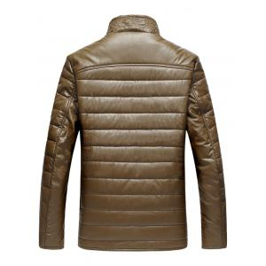 Stand Collar Zip-Up PU Thermal Jacket - COFFEE 3XL