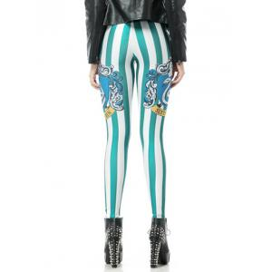 Printed Striped Bodycon Leggings -