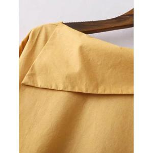 Buttoned Asymmetric Blouse - YELLOW L