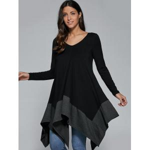 Loose Fitting Handkerchief Blouse - BLACK AND GREY M