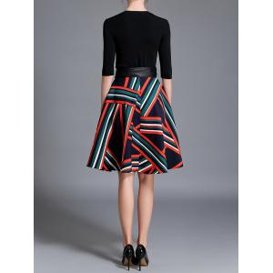 Knitted Top and Stripe Flare Skirt Set -