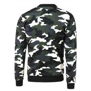 Zip-Up Camouflage Printed Jacket - CAMOUFLAGE 5XL