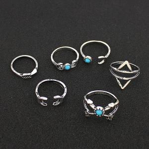 Faux Turquoise Moon Geometric Ring Set - SILVER ONE-SIZE