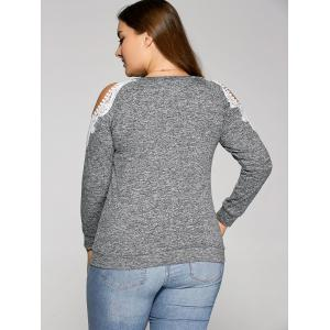 Cold Shoulder Pullover Sweatshirt - GRAY 3XL