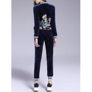 Animal Embroidered Velvet Gym Outfits - DEEP BLUE L