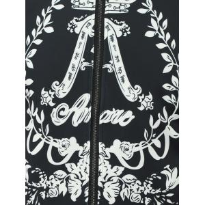 Stand Collar Flower Printed Jacket - BLACK 5XL