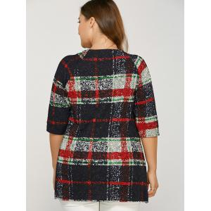Plus Size Plaid Tee - RED ONE SIZE