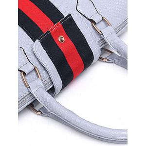 Embossed Striped Pattern Colour Block Tote Bag -