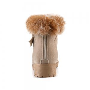 Buckle Faux Fur Suede Short Boots - LIGHT CAMEL 38
