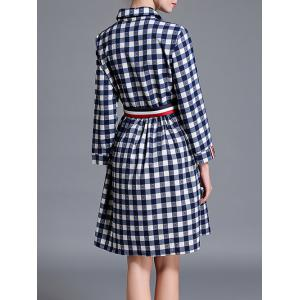 Checkered Long Sleeve Shirt A Line Dress -