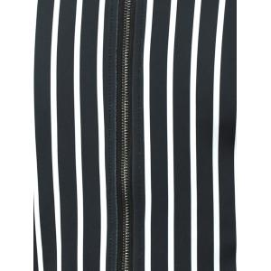 Stand Collar Zip Up Striped Jacket - BLACK 4XL