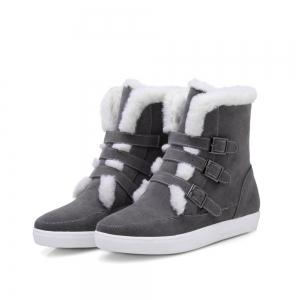 Casual Suede Buckle Straps Short Boots - GRAY 39