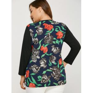 Long Sleeve Plus Size Floral Print Tee -