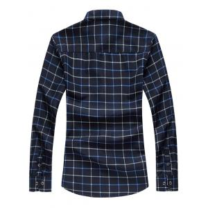 Retro Printed Collar Long Sleeve Grid Shirt - BLUE 5XL