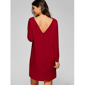 Back Zip High Low Dress - RED XL