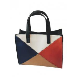 Color Splicing Patchwork PU Leather Tote Bag -