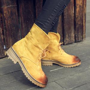 Fold Down Suede Lace-Up Short Boots -